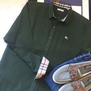 Burberry Brit Olive Green Button Down